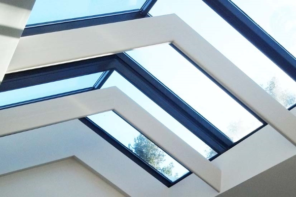 metal roof with skylights